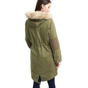 Gap 2 In 1 Olive Green Fur Hood Parka Jacket NWT